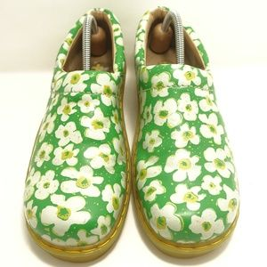 Doc Dr. Martens Green White Floral Clog Shoes 9